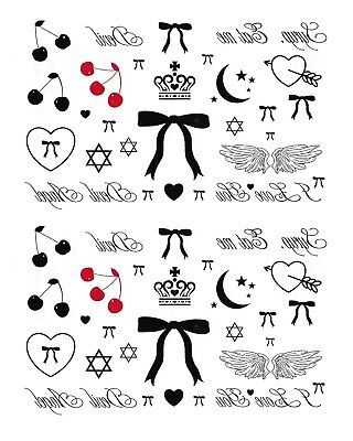 (2 Set Cherry Stars Bows Temporary Tattoo Temporary Tattoos Hexagram Tattoo)