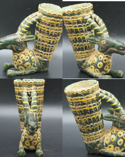 CIRCA 500 BCE ANCIENT GABRI COLORFUL ROMAN GLASS WINE CUP #A361