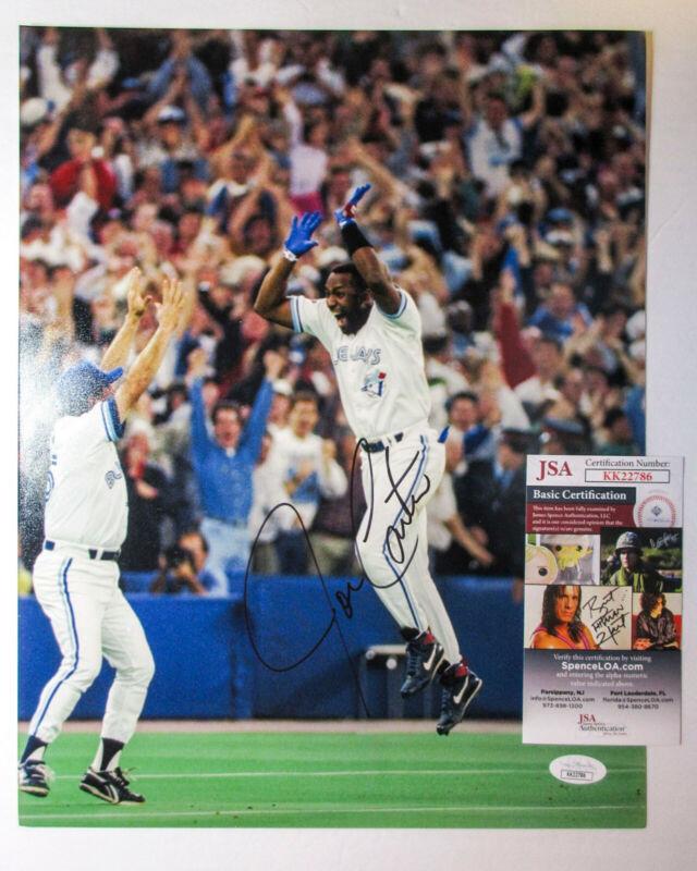 Joe Carter Signed 1993 Blue Jays World Series 11x14 Photo EXACT Proof JSA D