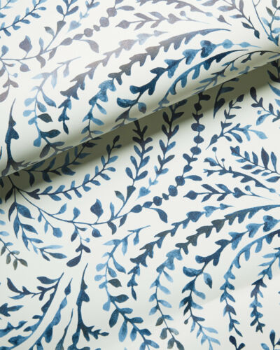 New double roll - SERENA & LILY Priano Wallpaper - Navy blue white - vine print