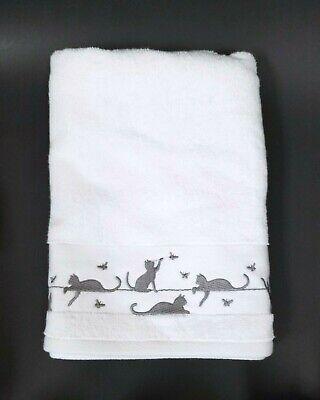 Neu Casaba 100% Baumwolle Weiß+Grau Katze,Katze Playing mit Schmetterlinge