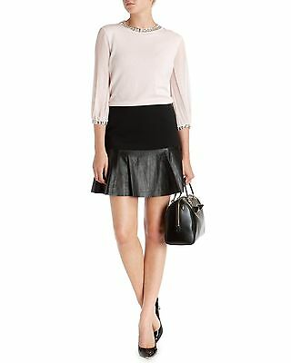 TED BAKER 'LTD ED' BLACK KID LEATHER & WOOL SKIRT SIZE 4 UK (14) BRAND NEW TAG