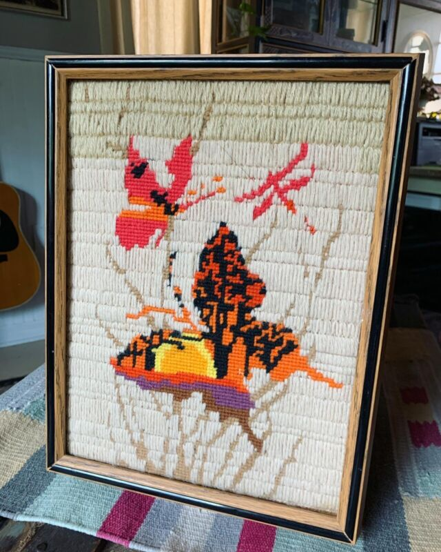 Vintage Butterfly Sunset Crewel Embroidery Framed Art