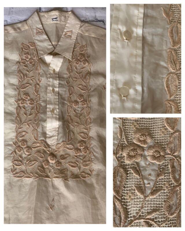 1950's Vintage Sheer Embroidered Men Ethnic Barong Style Dress Shirt Mr. Mort XL