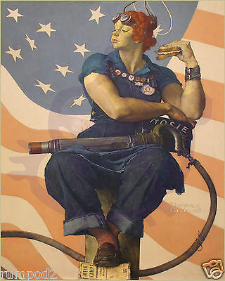 Vintage painting/art print/ Rosie the Riveter/Norman Rockwell 16x20 inch/Poster