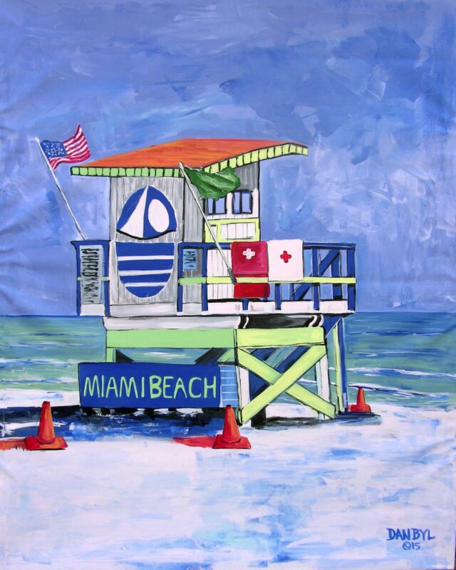 Beach Life Guard Tower Painting Original Dan Byl Art Deco Ocean Canvas Huge 4x5