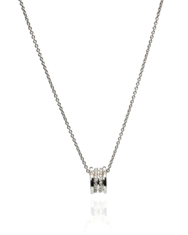 Bvlgari B Zero Ladies 18k White Gold Diamond 0.40ct Necklace CN851815 MSRP $5700