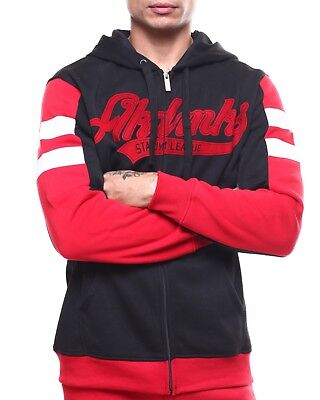 AKADEMIKS Mens's Long Sleeve Zip Hoodie Black / Red A38HD04 - Sz M - NEW Akademiks Hoodie
