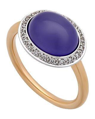 Mimi Milano 18k Rose und Weiss Gold Lavendel Jade und Diamanten Ring (Rose Gold Und Weißgold Ringe)