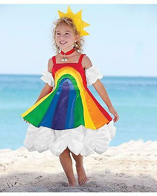 Halloween Birthday Party Rainbow Costume Satin Dress Girls Clouds Red Bright NEW
