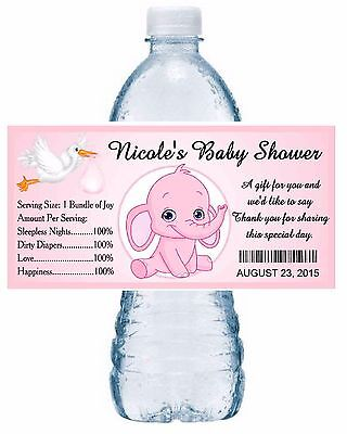 20 PINK ELEPHANT BABY SHOWER WATER BOTTLE LABELS PARTY FAVORS ~ Glossy