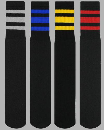 Black Tube Socks 4 Pairs Cotton Mixed Stripes Retro Old School Throwback 10-15