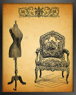 Vintage Style Home Decor (Vintage style fashion Sewing wall art print 8x10