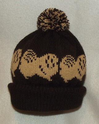 PEKINGESE dog design on NEW knitted DARK BROWN ADULT SIZE POMPOM BOBBLE hat