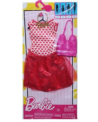 Genuine Mattel Barbie Doll Clothes Valentine's Day Hearts Dress Necklace Purse - Mattel Cloth Doll