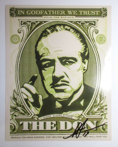 Shepard Fairey Signed Godfather The Don 11x14 Photo Print Obey Giant PROOF ACOA