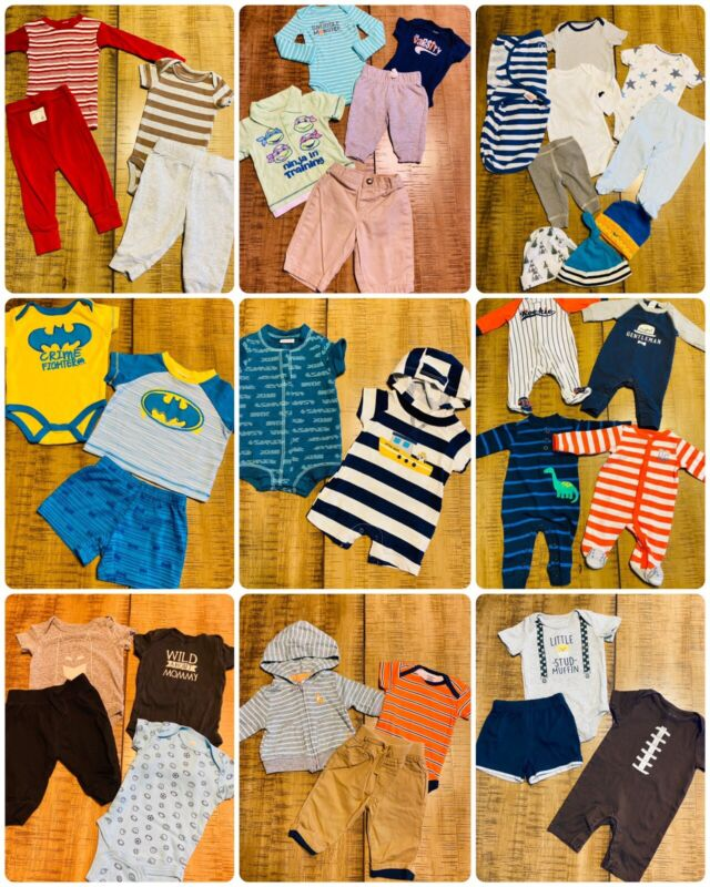 Lot Of 42 Pc Boys Mixed Clothes Outfits Size Nb 0/3 Months Spring Summer