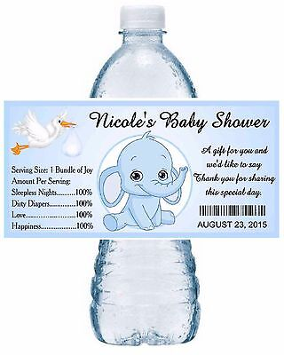 20 BLUE ELEPHANT BABY SHOWER WATER BOTTLE LABELS PARTY FAVORS GLOSSY