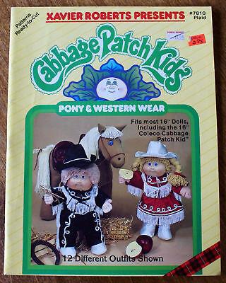 NEW UNCUT Cabbage Patch Kids PONY & WESTERN WEAR Xavier Roberts Sewing (Sewing Patterns Western Wear)