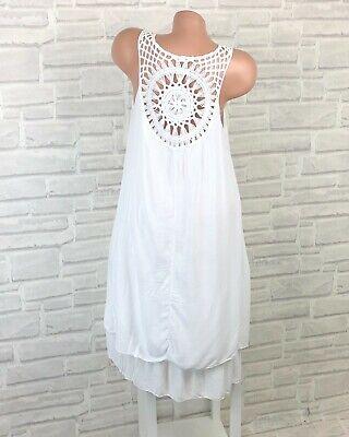 ITALY Sommerkleid Hängerchen Tunika Strand Kleid Häkel 36 38 40 42 Weiß K690