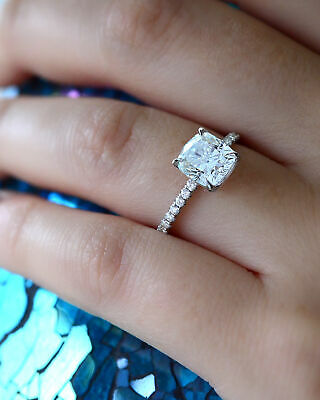 2.50 Ct Cushion Cut Diamond Pave Set 14K White Gold Engagement Ring J, VS2 GIA