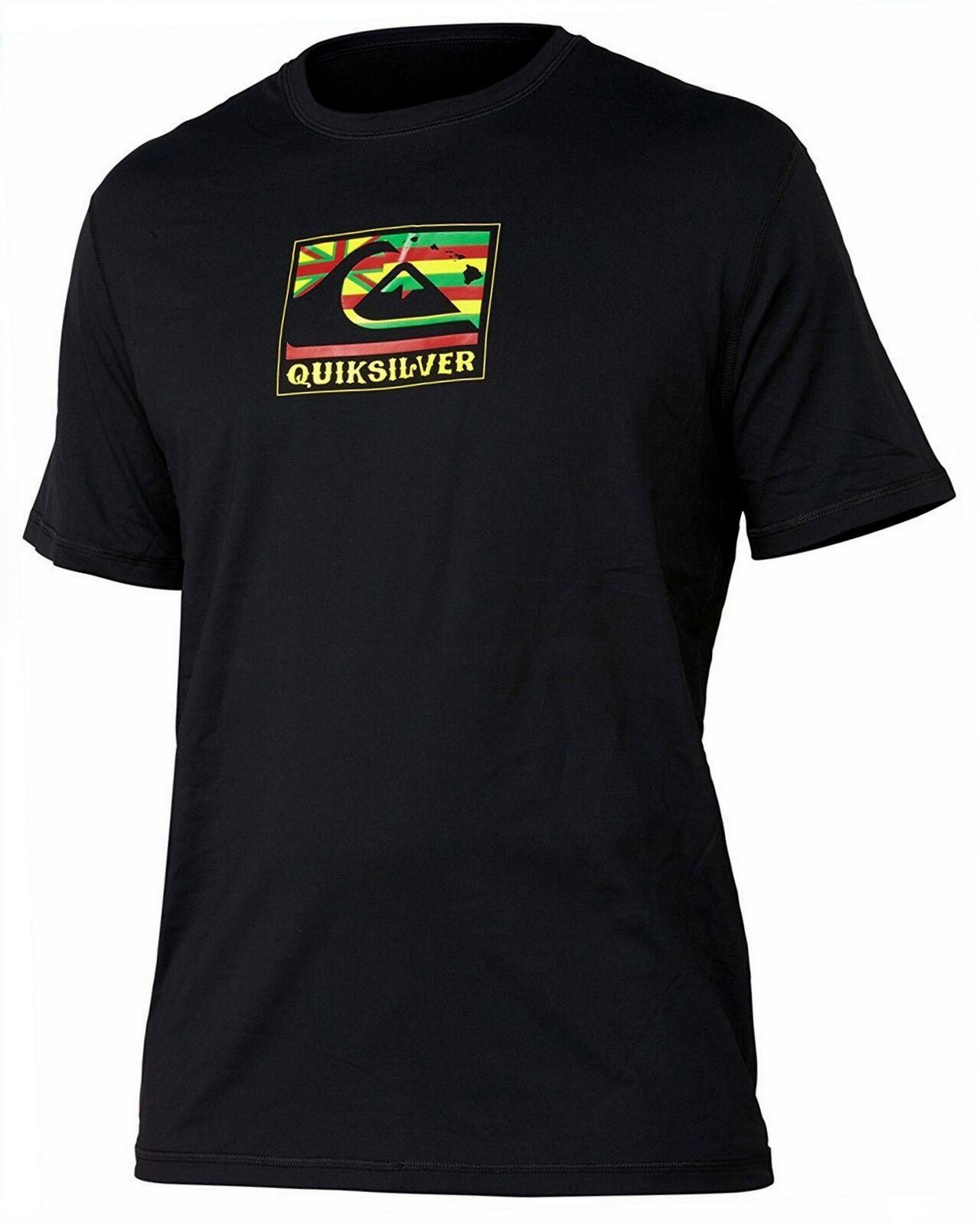QUIKSILVER Men's Black Pride Rash Guard Short Sleeve Crew Gr
