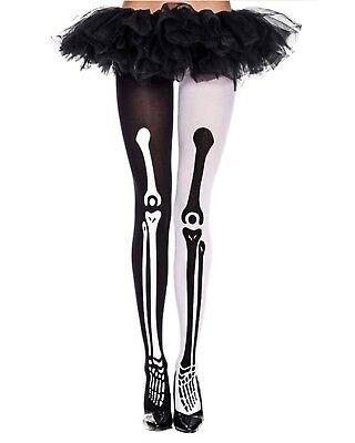 Miss Match Leg Bone Skeleton high-Hi Goth Punk Rave Tights Pantyhose Hosiery  - Skeleton Leg Tights