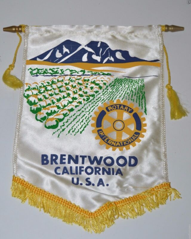 WOW Vintage Brentwood California International Rotary Club Banner Flag RARE