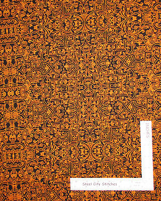 Halloween Fabric - Black Orange Motifs 84383 Wilmington Something Wicked - Yard