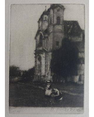 Bernhard Pankok: Kirche - Original Schabkunstblatt aus PAN 1896, Platte signiert