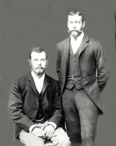 c1900-Czar Nicholas II-Russia with Cousin Prince George-Duke of York-8x10 Photo