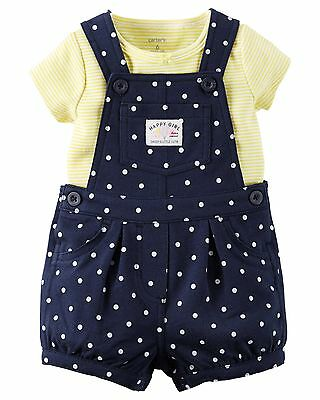 Carter's NWT 12M 18M Infant Girl Shortalls Tee Set Daddy's Cutie $28