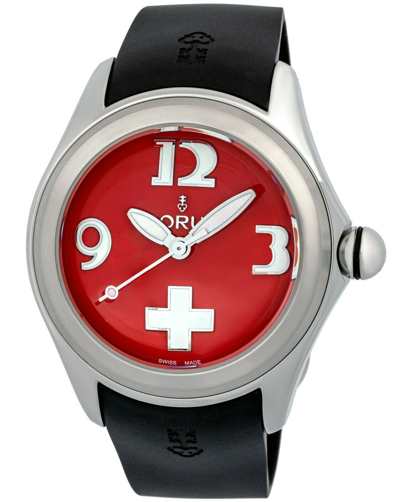 CORUM Men's Bubble Steel Case Red Dial Black Rubber Strap Auto Watch R:$4,100.00 - watch picture 1