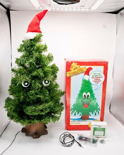 "Gemmy 1996 Douglas Talking Fir 24"" VIDEO Animated Sings Christmas Tree Complete"