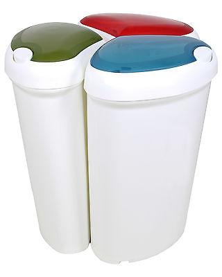 Ondis24 3er Set Mülleimer Lotus 30 Liter rot/blau/grün Abfalleimer Abfallsammler