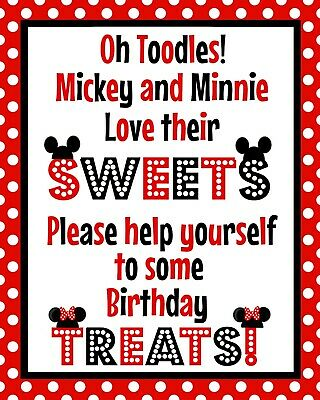 Disney Mickey and Minnie Mouse 8.5x11 Stand Up Cardstock Sweet Treat Sign Red](Mickey And Minnie Mouse Decorations)
