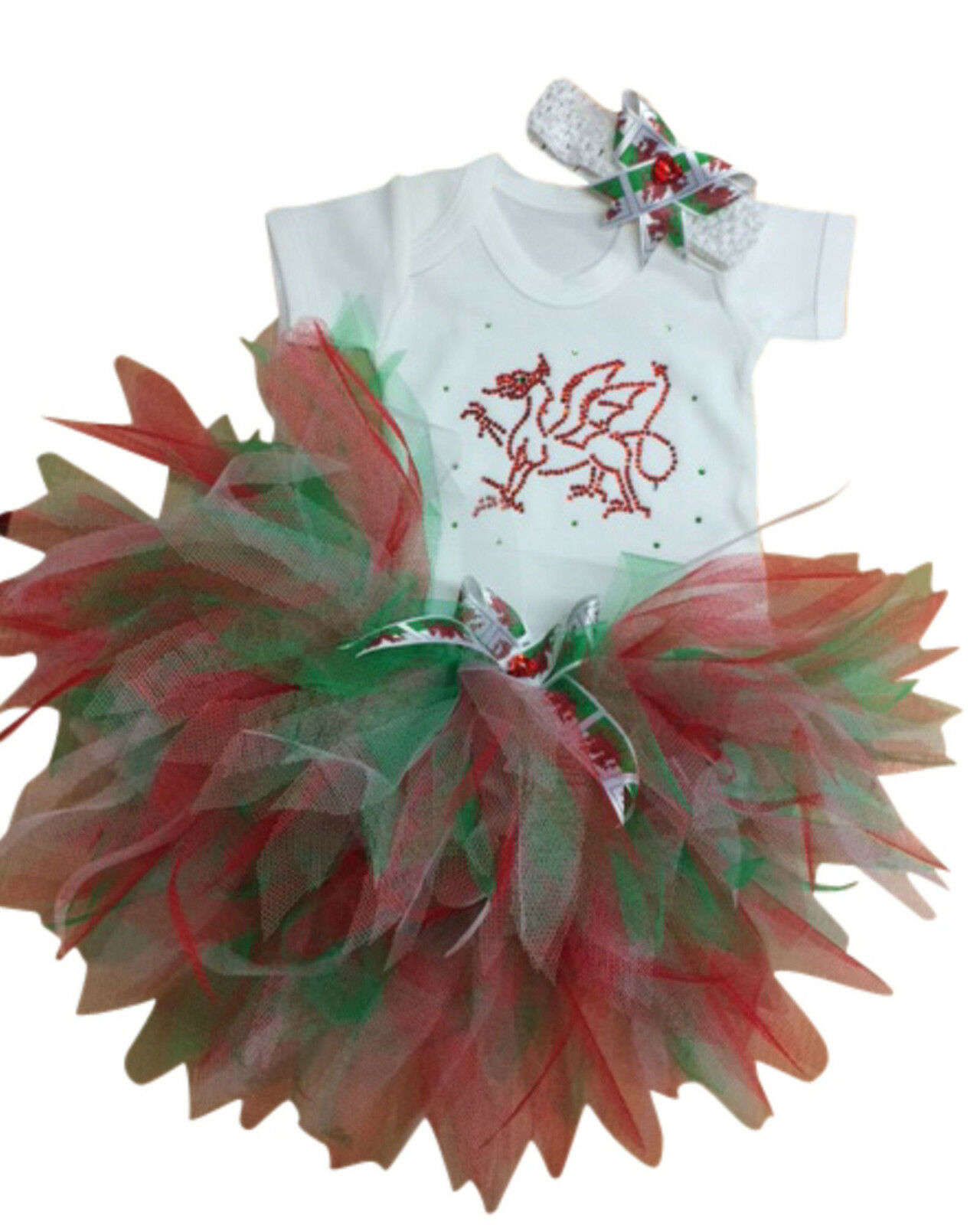 Girls St Davids Day Red Welsh Dragon Sparkle Baby Tutu 80s Fancy Dress Party Set