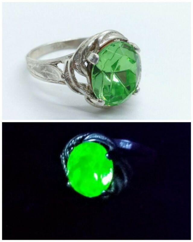 925 Uranium Glass Faceted Oval Sterling Ring Green Vaseline