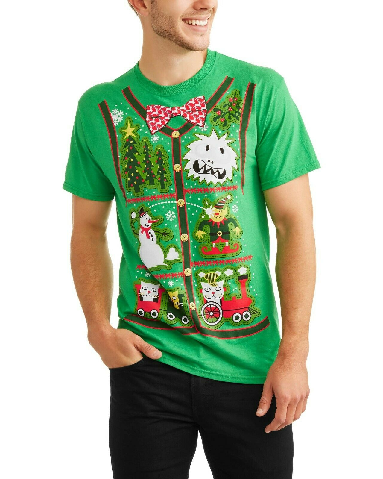 NWT FOTL Mens 2XL 50 52 Green CHRISTMAS PATCHES Vest-Look Gr