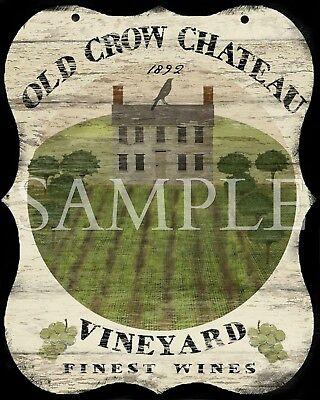 Old Tavern Sign - Primitive Old Crow Chateau Vineyard Saltbox Inn Tavern Sign Laser Print 8x10