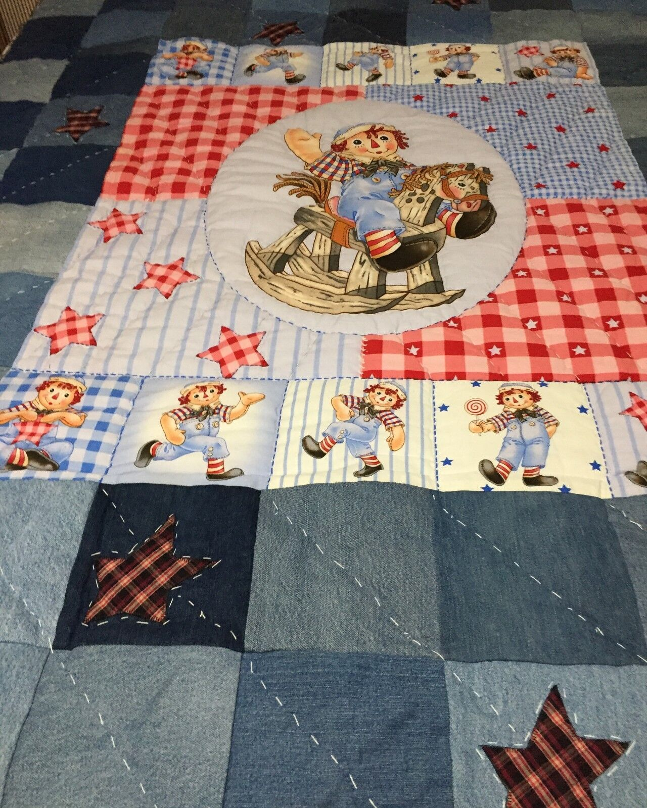 Raggedy Andy Twin Size Quilt Recycled Denim. Appliqued Heart