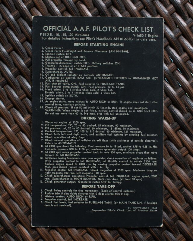 WWII P-51D MUSTANG OFFICIAL A.A.F PILOT'S CHECK LIST