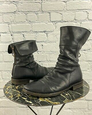 Fiorentini + Baker Women's Black Leather Ella Cuff Moto Boots Sz 38.5