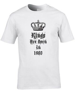 Kings Are Born In 1980 Mens T-Shirt 39th Thirty Nine Birthday Gift Idea Royal