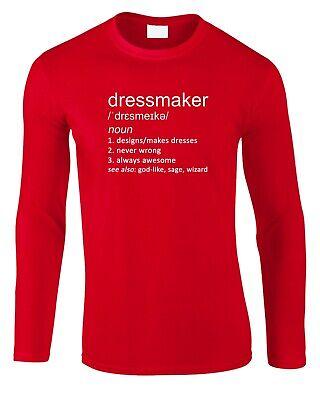 LangÄrmeliges T-shirt Kleid (Schneiderin Herren Langärmeliges T-Shirt Scharf Geschenk Kleid Mode Bekleidung)