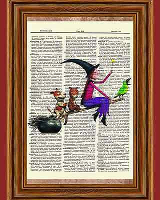 Room on the Broom Halloween Picture Dictionary Art Print Book Page Sprout Kids