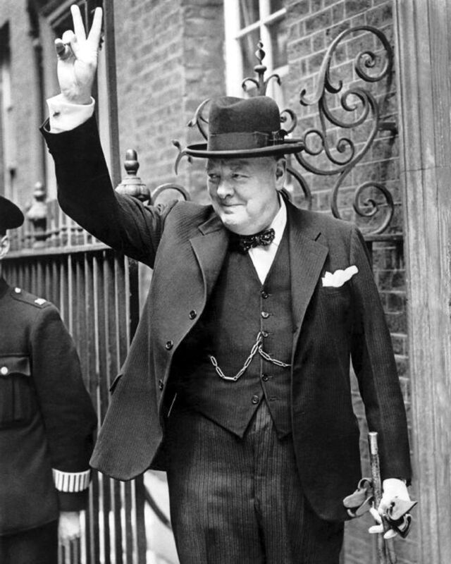 Winston Churchill in Downing Street giving his famous