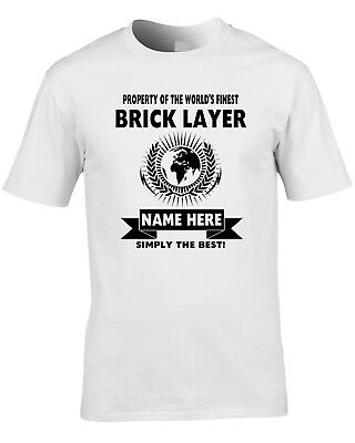 Brick Layer Custom Men's T-Shirt World Best Job Bricky Builder Funny Gift