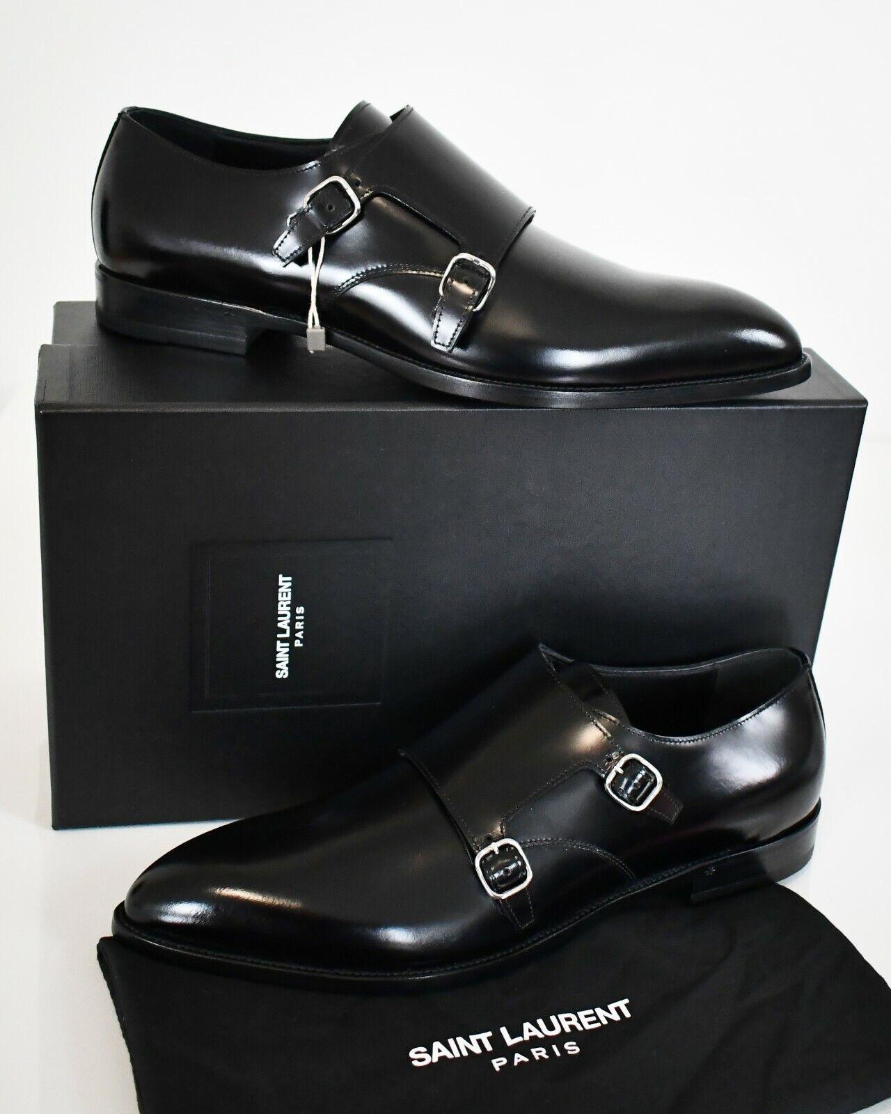 SAINT LAURENT Black Leather DOUBLE MONK STRAP Dress Formal Shoes EU445 US115