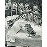 Louis Wain Cat Nightmare Owl Bird Painting 8x10 Real Canvas Giclee Art Print